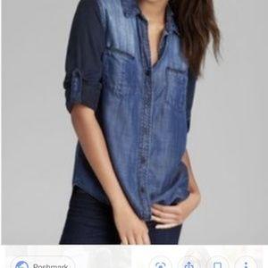 Bella Dahl Contrast Button Down Chambray Shirt